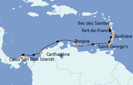 Itinerario de crucero Caribe del Este 13 días a bordo del Le Champlain
