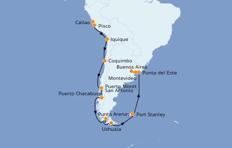 Itinerario del crucero Norteamérica 21 días a bordo del Seven Seas Mariner