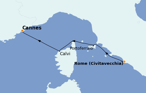 Itinerario del crucero Mediterráneo 3 días a bordo del Royal Clipper