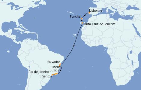 Itinerario del crucero Trasatlántico y Grande Viaje 2021 16 días a bordo del MSC Seaside