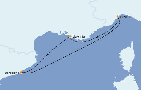 Itinerario del crucero Mediterráneo 3 días a bordo del Costa Favolosa