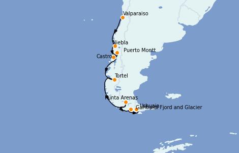 Itinerario del crucero Norteamérica 14 días a bordo del Silver Wind