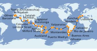 Itinerario de crucero Vuelta al mundo 2022 117 días a bordo del MSC Poesia