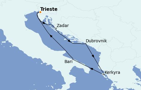 Itinerario del crucero Grecia y Adriático 5 días a bordo del Costa Deliziosa