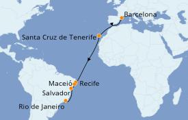 Itinerario de crucero Trasatlántico y Grande Viaje 2019 14 días a bordo del Costa Pacifica