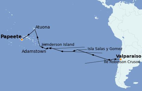 Itinerario del crucero Norteamérica 25 días a bordo del Silver Explorer