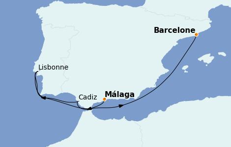 Itinerario del crucero Mediterráneo 5 días a bordo del MSC Virtuosa