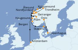 Itinerario de crucero Fiordos y Noruega 13 días a bordo del Seven Seas Voyager