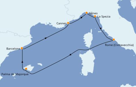 Itinerario del crucero Mediterráneo 7 días a bordo del MSC Grandiosa