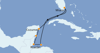 Itinerario de crucero Caribe del Oeste 8 días a bordo del Norwegian Escape