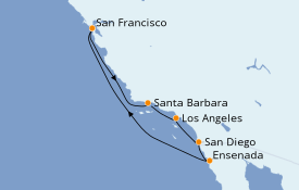 Itinerario de crucero California 8 días a bordo del Ruby Princess