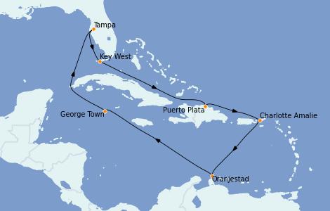 Itinerario del crucero Caribe del Este 11 días a bordo del Norwegian Dawn