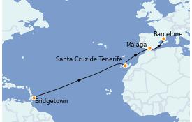 Itinerario de crucero Trasatlántico y Grande Viaje 2022 12 días a bordo del MSC Seaview