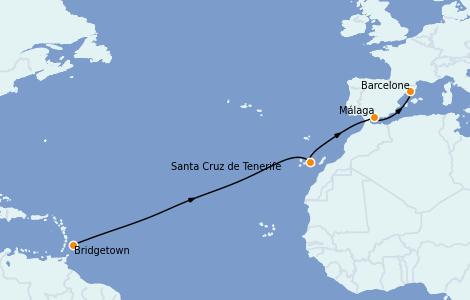 Itinerario del crucero Trasatlántico y Grande Viaje 2022 11 días a bordo del MSC Seaview