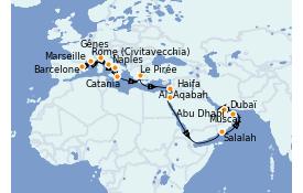 Itinerario de crucero Trasatlántico y Grande Viaje 2021 23 días a bordo del Costa Firenze