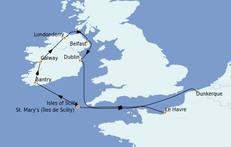 Itinerario del crucero Islas Británicas 9 días a bordo del MS World Explorer