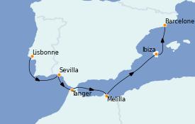 Itinerario de crucero Mediterráneo 8 días a bordo del Sirena