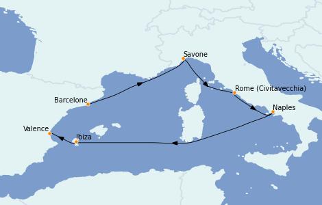 Itinerario del crucero Mediterráneo 7 días a bordo del Costa Toscana