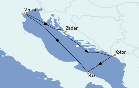 Itinerario de crucero Mediterráneo 5 días a bordo del Costa Deliziosa