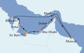 Itinerario de crucero Dubái 12 días a bordo del MSC Lirica