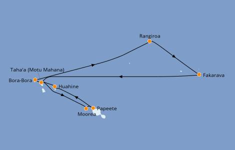 Itinerario del crucero Polinesia 11 días a bordo del Paul Gauguin