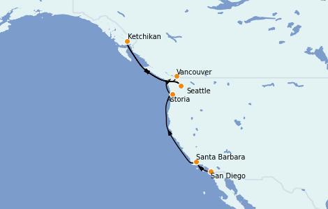Itinerario del crucero Alaska 8 días a bordo del Norwegian Jewel