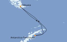 Itinerario de crucero Exploración polar 11 días a bordo del L'Austral