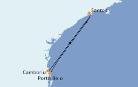 Itinerario de crucero Suramérica 4 días a bordo del MSC Preziosa