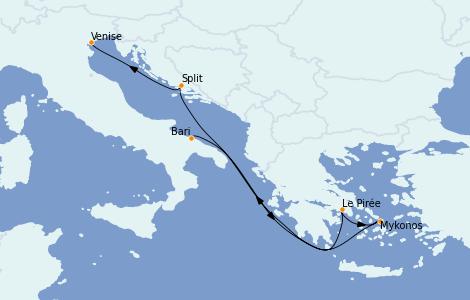 Itinerario del crucero Grecia y Adriático 6 días a bordo del MSC Magnifica