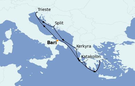 Itinerario del crucero Grecia y Adriático 7 días a bordo del Costa Deliziosa