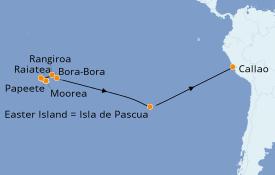 Itinerario de crucero Polinesia 19 días a bordo del Seven Seas Navigator