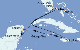 Itinerario de crucero Caribe del Oeste 10 días a bordo del MSC Seashore