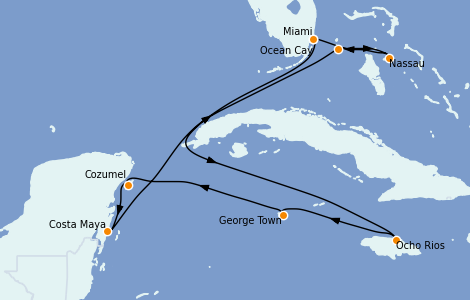 Itinerario del crucero Caribe del Oeste 9 días a bordo del MSC Seashore