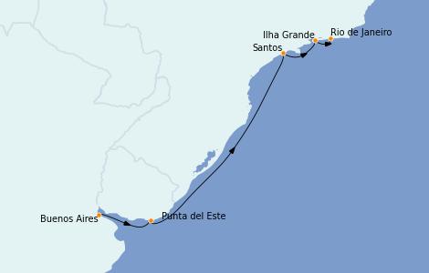 Itinerario del crucero Suramérica 6 días a bordo del Norwegian Star