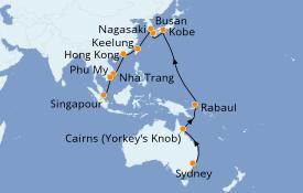 Itinerario de crucero Vuelta al mundo 2020 28 días a bordo del Costa Deliziosa