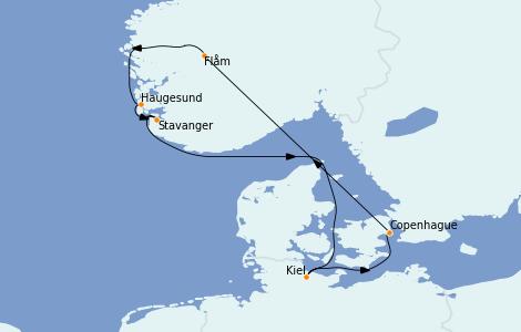 Itinerario del crucero Fiordos y Noruega 7 días a bordo del Costa Diadema