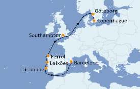Itinerario de crucero Mediterráneo 10 días a bordo del MSC Poesia