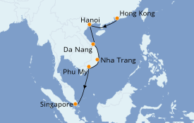 Itinerario de crucero Asia 8 días a bordo del Norwegian Jade