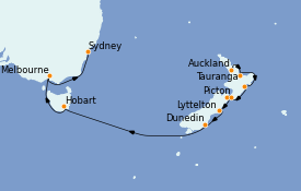 Itinerario de crucero Australia 2023 15 días a bordo del ms Noordam
