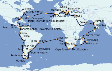 Itinerario del crucero Vuelta al mundo 2023 127 días a bordo del Costa Deliziosa