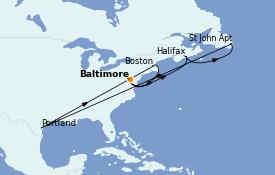 Itinerario de crucero Canadá 9 días a bordo del Carnival Legend