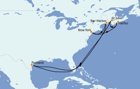 Itinerario del crucero Canadá 7 días a bordo del Norwegian Escape