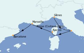 Itinerario de crucero Mediterráneo 5 días a bordo del MSC Seaview