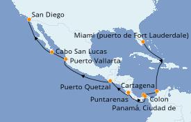 Itinerario de crucero Riviera Mexicana 16 días a bordo del Celebrity Summit