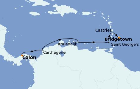 Itinerario del crucero Caribe del Este 8 días a bordo del Seven Seas Explorer