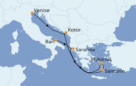 Itinerario de crucero Grecia y Adriático 7 días a bordo del MSC Sinfonia
