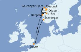 Itinerario de crucero Fiordos y Noruega 10 días a bordo del Carnival Legend