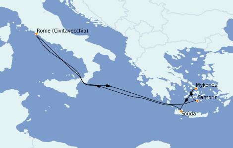 Itinerario del crucero Grecia y Adriático 6 días a bordo del Odyssey of the Seas