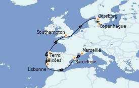 Itinerario de crucero Mediterráneo 11 días a bordo del MSC Musica