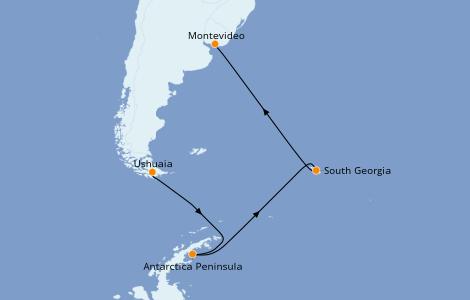 Itinerario del crucero Exploración polar 15 días a bordo del L'Austral
